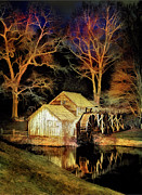 Mabry Framed Prints - Blue Ridge - Mabry Mill Painted at Night III Framed Print by Dan Carmichael