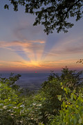 Green Cherokee Posters - Blue Ridge Mountain Sunset Poster by Debra and Dave Vanderlaan
