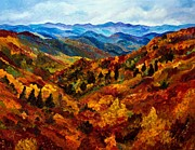 Turning Leaves Painting Framed Prints - Blue Ridge Mountains in Fall II Framed Print by Julie Brugh Riffey