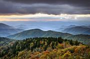 Blue Ridge Mountains Posters - Blue Ridge Parkway Autumn Mountains Sunset NC - Boundless Poster by Dave Allen