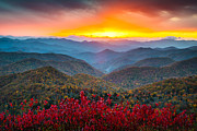 Blue Art Photo Prints - Blue Ridge Parkway Autumn Sunset NC - Rapture Print by Dave Allen