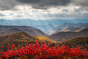 Light Rays Photo Prints - Blue Ridge Parkway Fall Foliage - The Light Print by Dave Allen