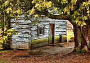 Cabin Wall Photos - Blue Ridge Parkway - Mabry Mill Building in the Rain by Dan Carmichael