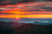 Nc Prints - Blue Ridge Parkway NC Autumn Sunrise Print by Dave Allen