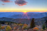 Cowee Mountain Overlook Prints - Blue Ridge Parkway Nightfall Serenity Print by Mary Anne Baker