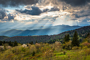 Appalachians Posters - Blue Ridge Parkway North Carolina Mountains Gods Country Poster by Dave Allen