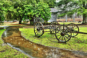 Storm Prints Framed Prints - Blue Ridge Parkway Vintage Wagon in the Rain I Framed Print by Dan Carmichael