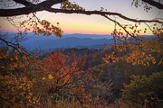 Autumn Scene Framed Prints - Blue Ridge Sunset Framed Print by Jaki Miller
