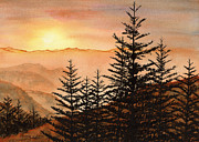 Smoky Mountains Paintings - Blue Ridge Sunset by Penny Johnson