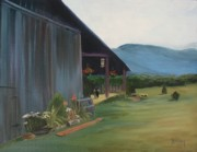 Wineries Paintings - Blue Ridge Vineyard by Donna Tuten