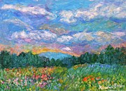Flower Field Paintings - Blue Ridge Wildflowers by Kendall Kessler