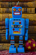 Old Face Prints - Blue robot and books Print by Garry Gay