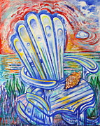 Maine Seacoast Paintings - Blue Rocking Chair by Susan Schiffer