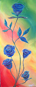 Ross Daniel Paintings - Blue Roses by Ross Daniel