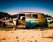 Antique Automobiles Photos - Blue Rusty Truck by Sonja Quintero
