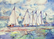 Soft Painting Posters - Blue Sailboats Poster by Brenda Brin Booker