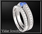 14k Jewelry - Blue Sapphire And Diamond 14k Wedding Ring And Engagement Ring Set by Roi Avidar