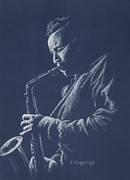 Player Pastels - Blue Sax by Karen  Loughridge KLArt
