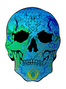Scull Posters Framed Prints - Blue Scull Framed Print by Mauro Celotti