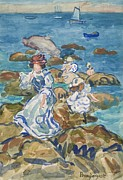 Little Girl Girl Framed Prints - Blue Sea Classic Framed Print by Maurice Brazil Prendergast