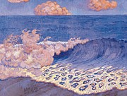 Wave Patterned Framed Prints - Blue seascape Wave Effect Framed Print by Georges Lacombe