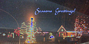 Photo Manipulation Mixed Media Posters - Blue Seasons Greetings Poster by Skyler Tipton
