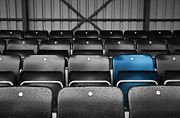 Football Photographs Posters - Blue Seat in the Football Stand Poster by Natalie Kinnear