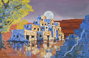 Full Moon Paintings - Blue Serpent Pueblo by Jerry McElroy