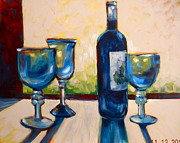 Wine Glasses Paintings - Blue Shadows by Paula Strother