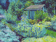 Shed Painting Posters - Blue Shed Poster by Susan Hanna
