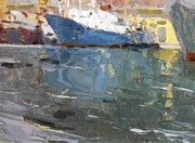 Impressionist Art Mixed Media - Blue Ship  Vladivostok Vintage Art Prints by Jake Hartz