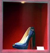 Fashion Photo Prints Posters - Blue Shoe Poster by John Rizzuto