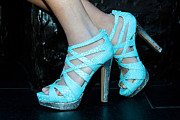Straps Prints - Blue Shoes Print by Chet Dabrowski