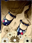 Jan Steadman-jackson Posters - Blue Shoes Poster by Jan Steadman-Jackson
