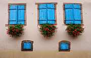 Alsace Framed Prints - Blue Shutters Framed Print by Dave Mills
