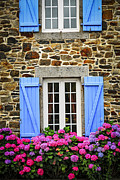 Country Window Framed Prints - Blue shutters Framed Print by Elena Elisseeva