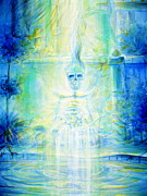 Meditation Paintings - Blue Skeleton Meditation by Heather Calderon