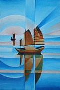 Fishing Enthusiast Art - Blue Skies and Cerulean Seas by Tracey Harrington-Simpson