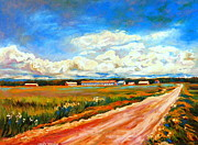 Abandoned Houses Painting Posters - Blue Skies Quebec Landscape Painting Road To The Little Village  Poster by Carole Spandau