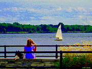 Summer Along The Canal Paintings - Blue Skies White Sails Drifting Blonde Girl And Collie Watch River Run Lachine Scenes Carole Spandau by Carole Spandau