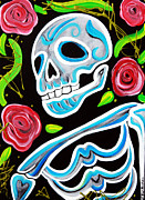Sugar Skull Prints Posters - Blue Skull N Roses Poster by Laura Barbosa