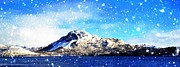 Footprint Digital Art - Blue Sky and Snowing on the Hill Painterly  by Barbara Griffin