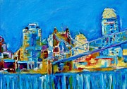 Cincinnati Painting Metal Prints - Blue Sky Cincinnati Metal Print by Kat Griffin