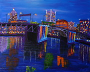 City Of Bridges Painting Posters - Blue Skys Of Morrison Bridge 3 Poster by James Dunbar