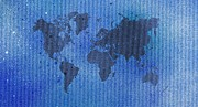 Stencil Spray Prints - Blue Spray Painting World Map Print by Hakon Soreide