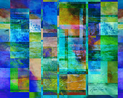 Non-objective Digital Art Framed Prints - Blue Squares abstract art Framed Print by Ann Powell