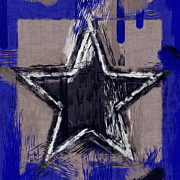 Sketchy Framed Prints - Blue Star Abstract Framed Print by David G Paul
