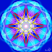Fractal Geometry Digital Art Originals - Blue Star by Emrys