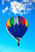Balloon Aircraft Prints - Blue Striped Hot Air Balloon Print by Robert Bales
