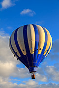 Airships Prints - Blue Stripped Hot Air Balloon Print by Robert Bales